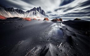 Wallpaper shore, Vestrahorn Islande, sea
