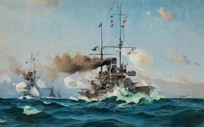 Picture battleship, the ocean, watercolor, gouache, painting painting, wave bursts, painting, artist, Herman Gustav Sillen., Swedish ...