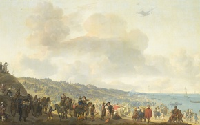 Picture oil, picture, canvas, Departure of Charles II of England from Scheveningen, Johannes Lingelbach