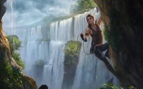 Picture girl, waterfall, rope, lara croft, tomb raider, art