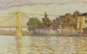 Picture landscape, house, river, picture, Bridge, Auguste Erben, Auguste Herbin