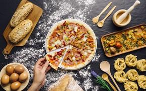 Picture eggs, pasta, bread, flour, pizza