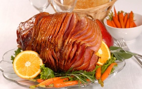 Picture lemon, meat, carrots, ham