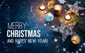 Wallpaper garland, candles, holiday, Merry Christmas, candle, New year, Christmas, star, New year