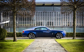 Picture trees, the building, spring, Rolls-Royce, blue, collection, chic, Rolls-Royce, wraith, bespoke