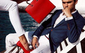 Picture look, girl, style, costume, male, bag, leg, shoes red