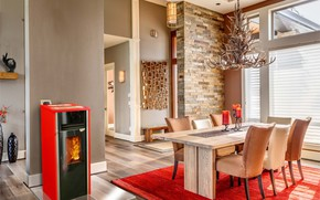 Picture Villa, interior, fireplace, dining room