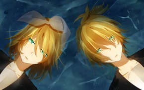 Picture water, girl, guy, two, Vocaloid, Vocaloid, Kagamine Len, Kagamine Rin