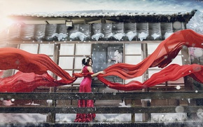 Wallpaper girl, style, photoshop, matter, fabric, Asian, red dress