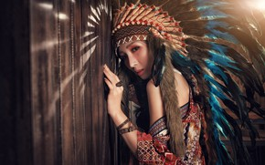 Picture look, girl, face, style, hair, feathers, headdress