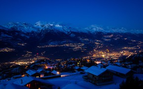 Picture winter, snow, mountains, night, the city, lights, Switzerland, switzerland, snow stars, ultra hd, city in …