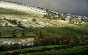 Picture field, slope, snow, trees, England, Algrave