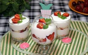 Picture glass, food, cream, strawberry, glasses, mint, sweet, .dessert