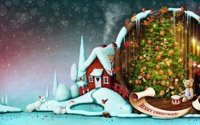 Wallpaper candles, holiday, art, winter, toys, tree, drum, snowflakes, rabbits, smoke, plush, house, fireplace, socks, snow, ...