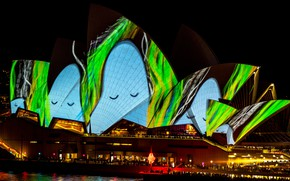 Picture night, the city, lights, green, glare, darkness, people, blue, the building, lighting, Australia, show, Sydney, …