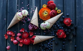 Picture flowers, ice cream, waffle cone