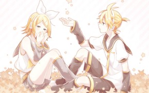 Picture girl, tenderness, stars, guy, two, Vocaloid, Vocaloid, Kagamine Len, Kagamine Rin