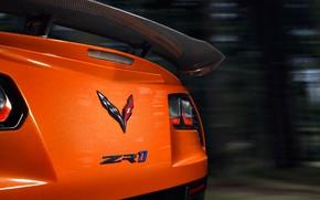 Picture Corvette, Chevrolet, ZR1, spoiler, rear view, 2019