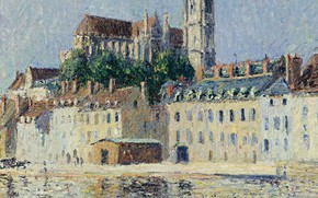 Picture picture, the urban landscape, Gustave Loiseau, Gustave Loiseau, Cathedral in Auxerre