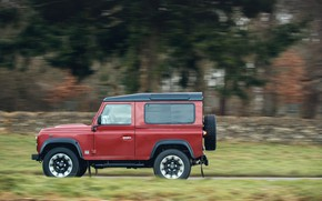 Picture road, red, stones, movement, tree, vegetation, SUV, Land Rover, 2018, fence, Defender Works V8, jubilee ...