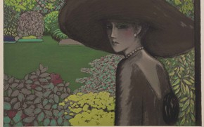 Wallpaper the elusive charm of France, Modern French painting, engraving, Jean-Pierre Cassigneul, Woman in wide-brimmed hat
