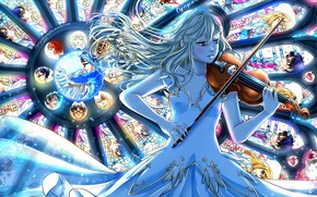 Wallpaper shigatsu wa kimi no uso, girl, violin, art