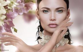 Picture girl, flowers, face, portrait