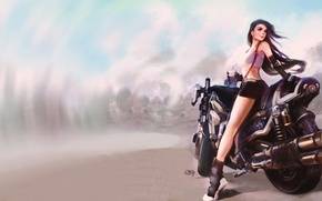 Picture girl, Typhoid Rockphoto, Children coming, Final fantasy 7, Tifa Lockhart, the wind, road, art, Tifa ...