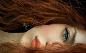 Picture look, girl, face, eyes, hair, art, lips, red