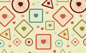 Picture abstraction, round, vector, wheel, spokes, heart, square