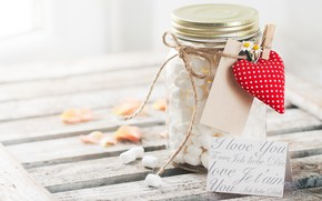 Picture holiday, hearts, red, heart, romantic, valentine's day, jar, marshmallows