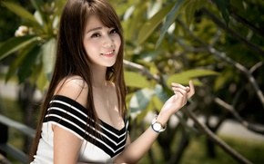 Picture look, girl, smile, hair, Asian, cutie, watch