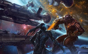 Picture space, ships, stars, fight, Duel