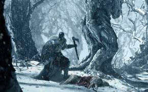 Picture forest, snow, trees, weapons, armor, Warrior