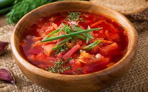 Picture greens, bread, soup, garlic