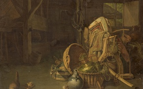Picture tree, oil, picture, Frances Cornelis Knoll, Still life in the Stables