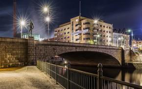 Picture night, bridge, lights, Finland, Tampere, Tampere, Häme Bridge