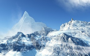 Picture snow, mountains, tops, glacier, Lone Spruce