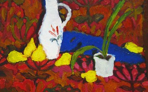 Picture 2006, pitcher, still life, pear, The petyaev, floral patterns, a flower in a pot