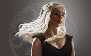 Picture girl, fantasy, long hair, art, painting, dragon, Game of Thrones, blonde, Emilia Clarke, Daenerys Targaryen, …