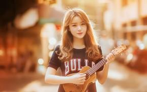 Wallpaper guitar, girl, music