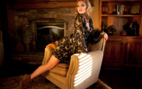 Picture pose, chair, dress, blonde, fireplace