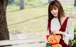 Picture girl, joy, face, toy, Teddy bear