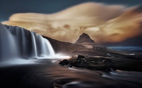 Picture clouds, mountain, waterfall, Iceland, Kirkjufell