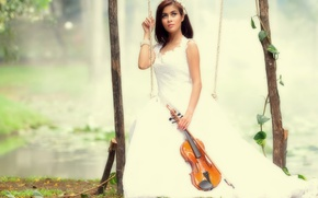 Wallpaper violin, music, swing, girl