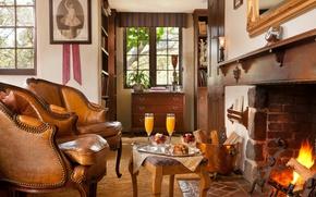 Wallpaper heat, interior, fireplace, California, cozy, Monterey Inn
