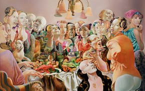 Picture people, chandelier, feast, 1993, Figurative painting, Normunds Braslins, The Company I