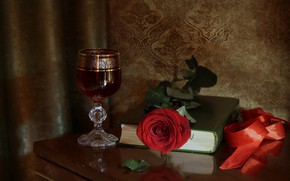 Picture wine, glass, rose, tape, book, still life, red