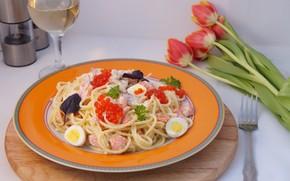 Picture eggs, caviar, pasta