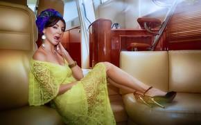 Picture girl, pose, style, yacht, dress, neckline, legs, turban, Sergey Kiboga